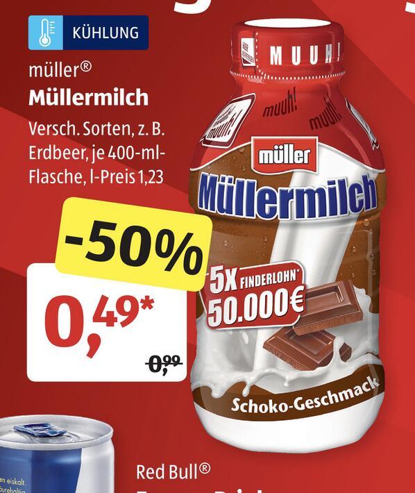 Müller Milch 0,49 Euro statt 0,99 Euro ab 26.-31.10.20 bei Aldi + 50.000 Euro Gewinnspiel