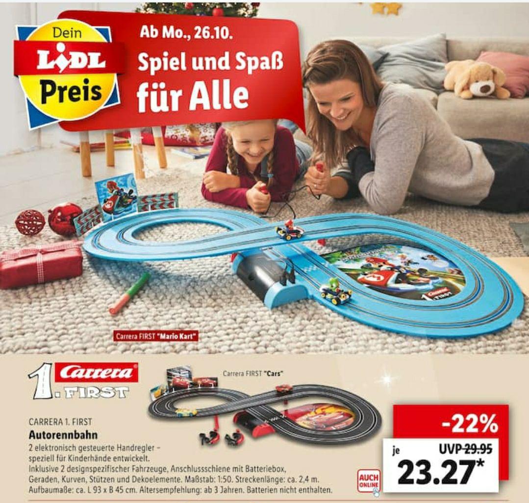 Carrera First Nintendo Mario Kart /Cars Autorennbahn ab 26.10. (Primär offline;aber auch online erhältlich)