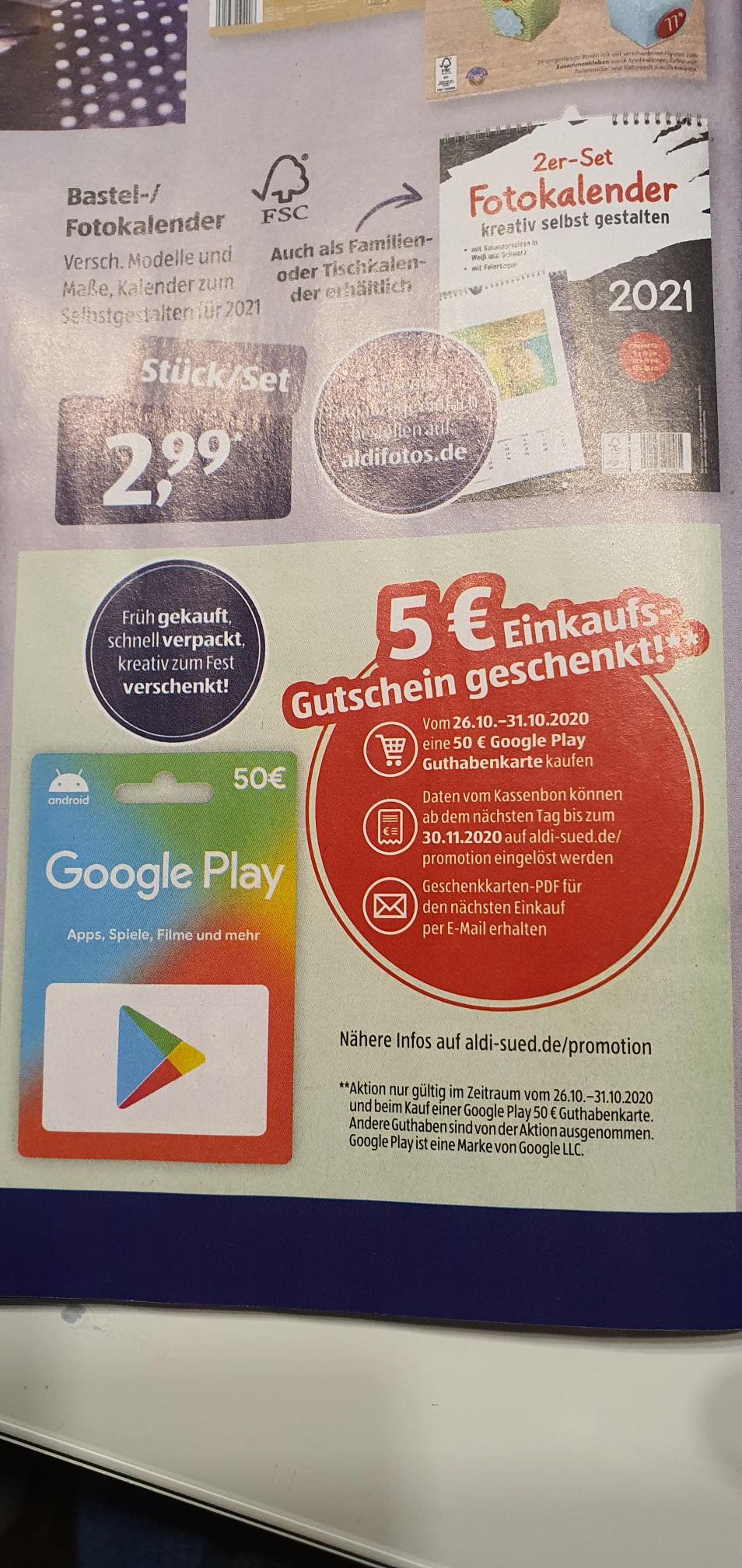 Google Play Card 50€ Aldi Süd mit 5€ Einkaufsgutschein