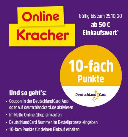 Netto: 10fach Punkte in der DeutschlandCard App sichern, ab 50 € Einkaufswert. Nur online.