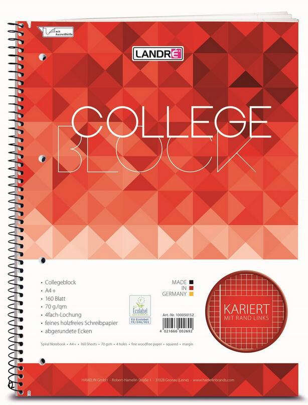 Landré Collegeblock A4 (160 Blatt, Kariert, 4-fach Lochung, 70g, Mit Rand links) [MÜLLER Filial-Abholung]