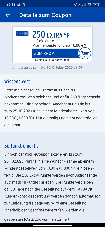 Evtl personalisiert: 250 Payback Punkte ab 10 € Prämien Einlösung zb. 15 Euro iTunes für 12,49 Euro