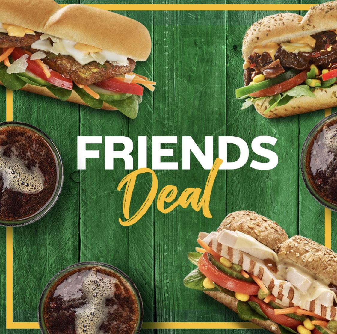 Subway Friends Deal - 3 Footlong & 3 Drinks für 19,99€