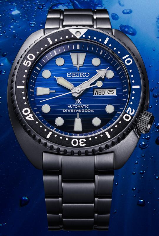 "Seiko Prospex Automatik Uhr ""Black Series"" Save the Ocean SRPD11K1 (Turtle, 4R36, 45mm)"