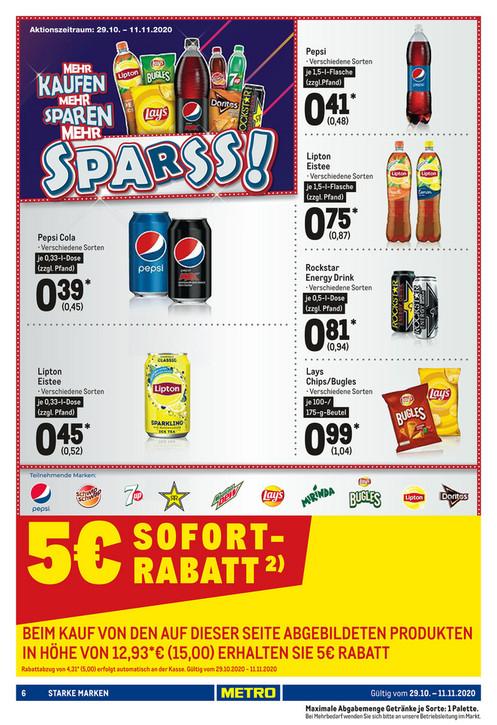 [METRO] 32x 1,5l Pepsi (verschiedene Sorten) für 10,36€ entspricht 0,32€ exkl. Pfand pro 1,5l Flasche (1l = 0,21€)