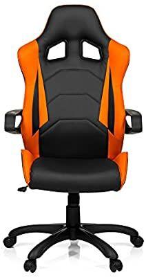 hjh OFFICE 621838 Gaming PC Stuhl RAYCER PRO I Kunstleder schwarz/orange, feste Polsterung [Amazon]