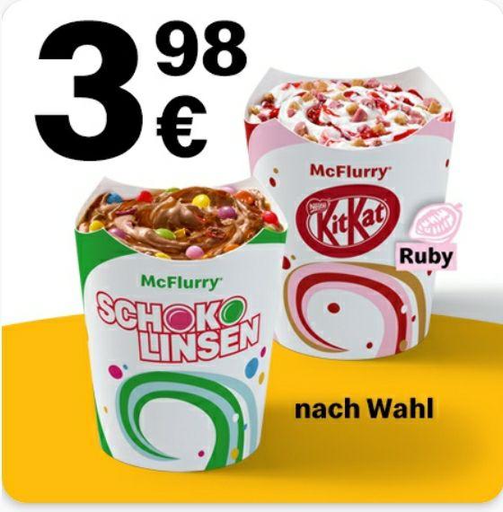 2x McFlurry nach Wahl (z.B. mit Oreo, Pick Up, KitKat Ruby, Erdbeer Sauce, etc.) für 3,98€ [McDonalds App]