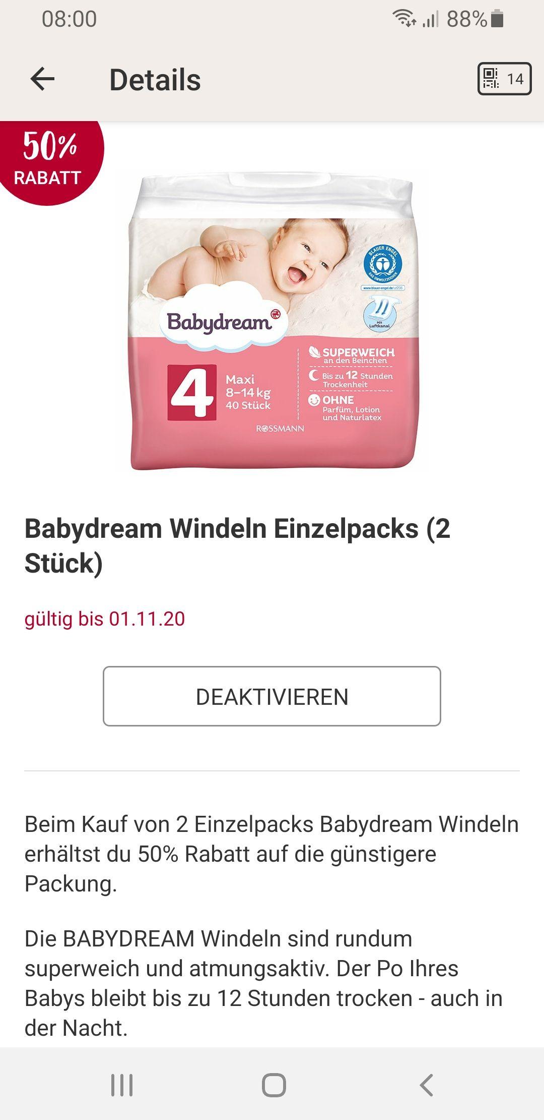 2x Rossmann Babydream Windeln