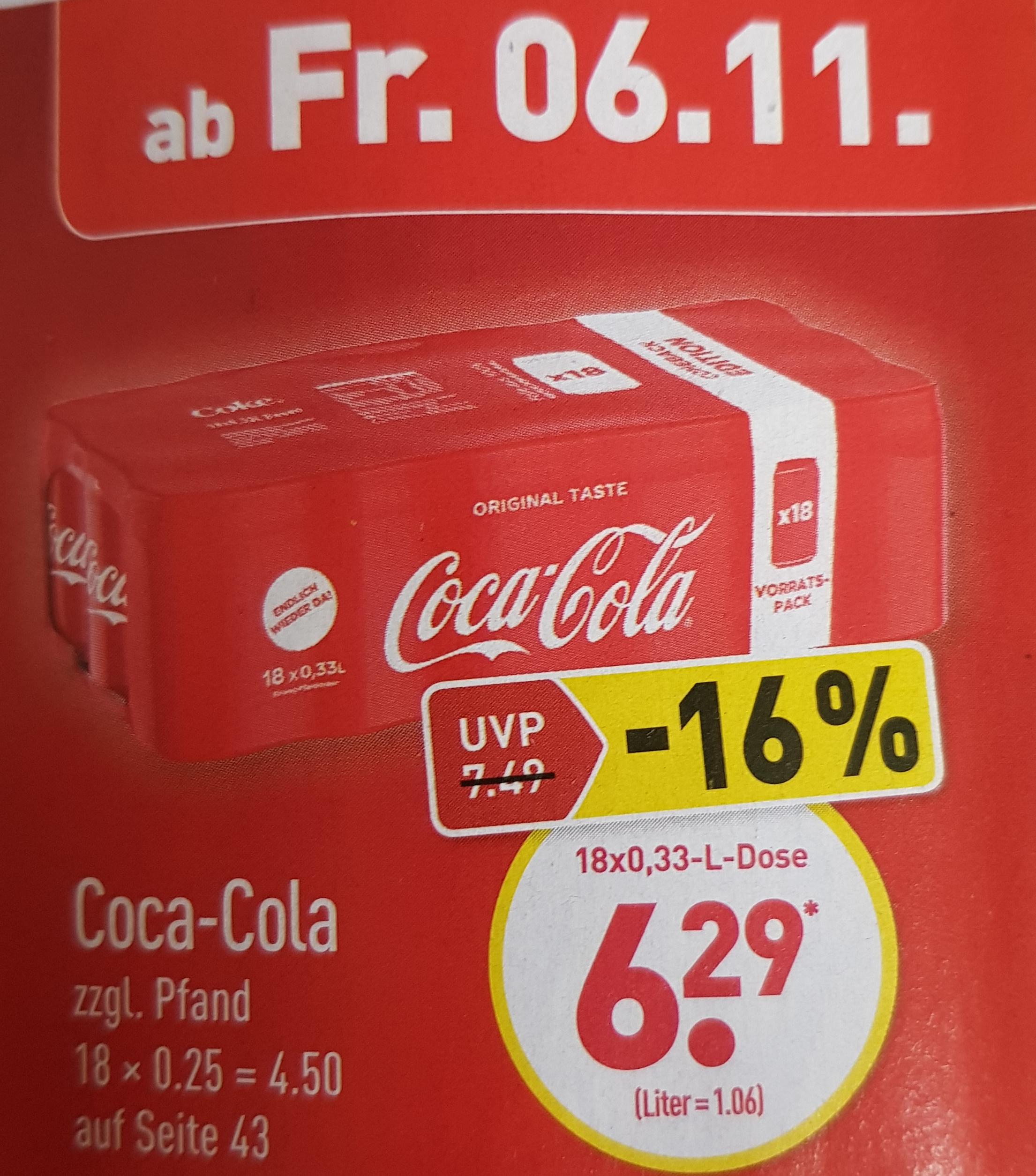 Aldi Nord: Coca-Cola Vorratspack (18 Dosen x 0,33l) für 6,29€ zzgl. 4,50€ Pfand ab dem 6.11