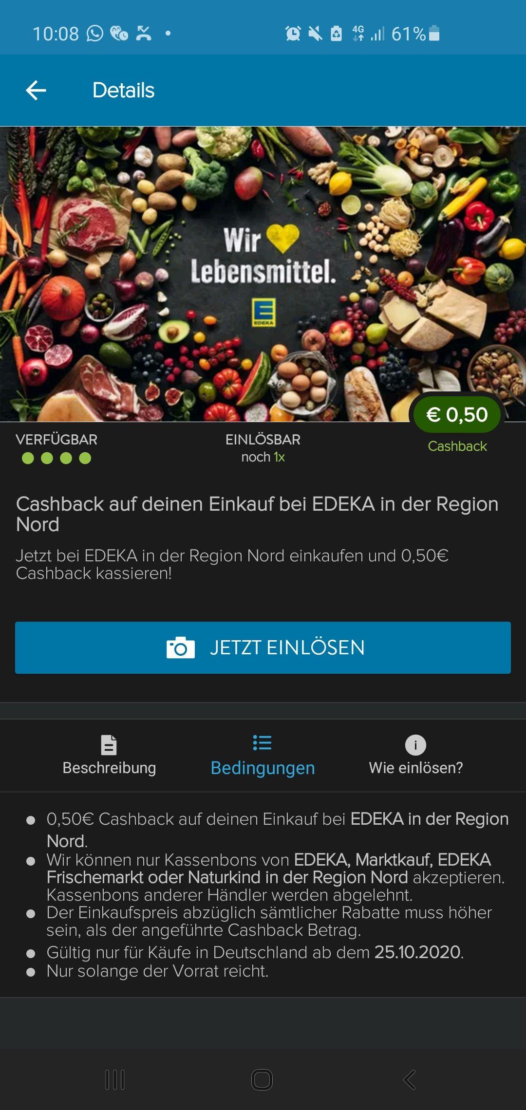 Freebie möglich bei Edeka Nord -0,50€ bei Marktguru