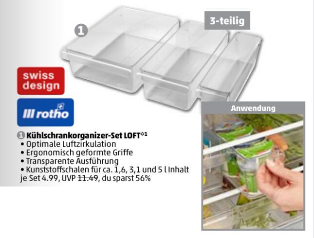 [offline Penny] Rotho Loft Kühlschrank Organizer (Robuster Aufbewahrungsbehälter3 verschiedenen Grössen, 3er Set)