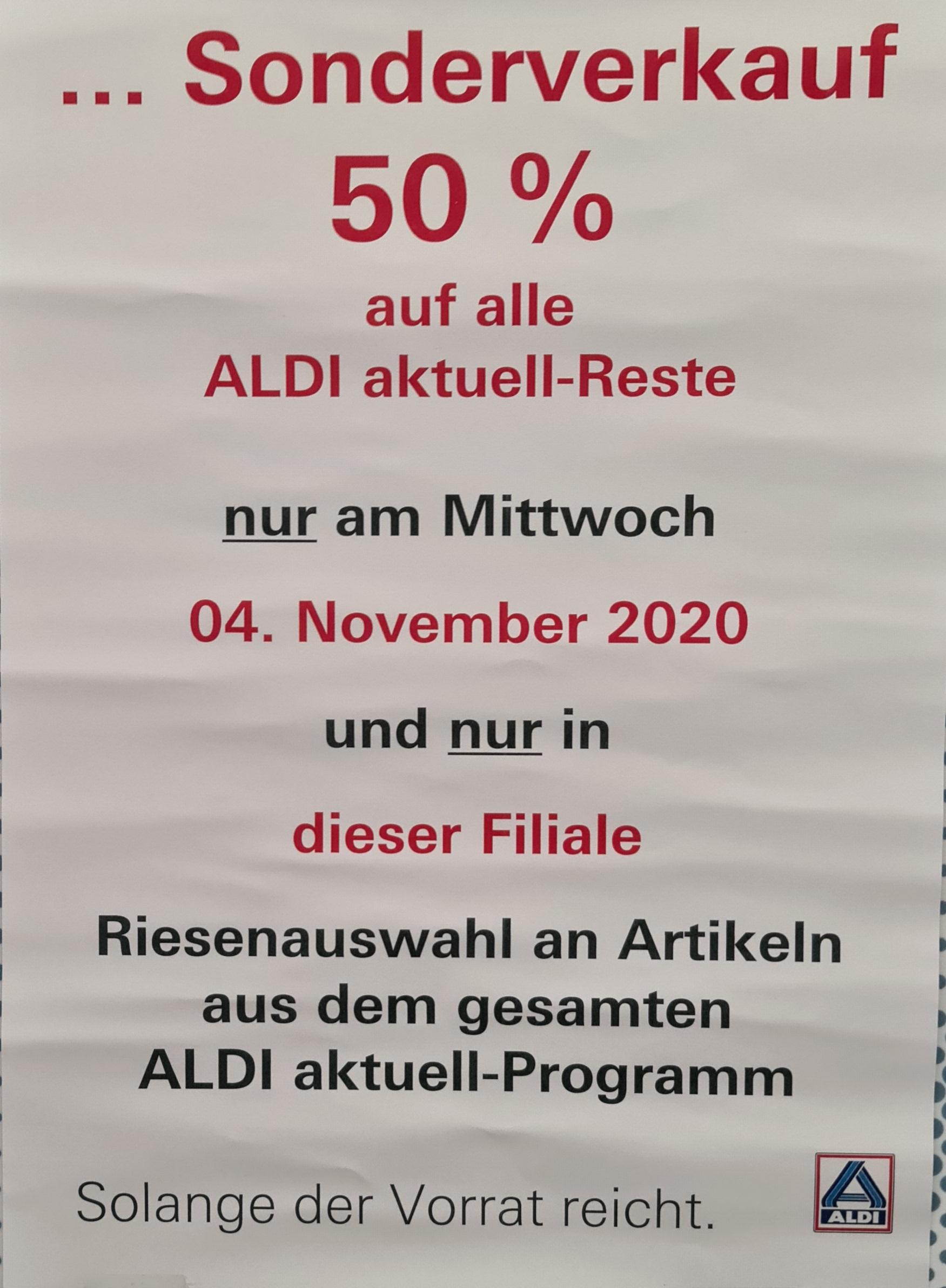 [Münster (lokal?)] Aldi Nord Sonderverkauf 50% auf alle aktuell-Reste
