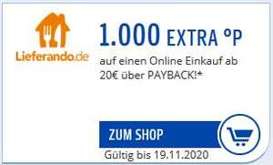 Lieferando 1000 Payback Punkte (10€) bei MBW 20€ (ausgewählte Nutzer)