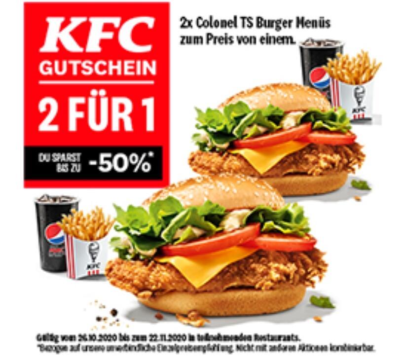 [Lokal?] Lidl Plus Partnervorteil beim KFC: 2 Colonel TS Burger Menüs zum Preis von einem