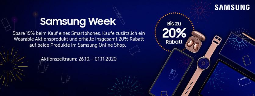 20% Rabatt bei der Samsung Week plus 4%Cashback + 5€ Shoop.de-Gutschein bei [Shoop]