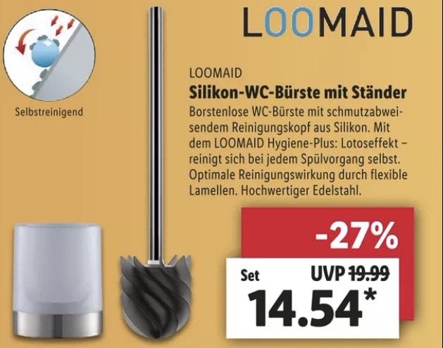 (Lidl) Loomaid Silikon WC-Bürste mit Ständer aus DHDL