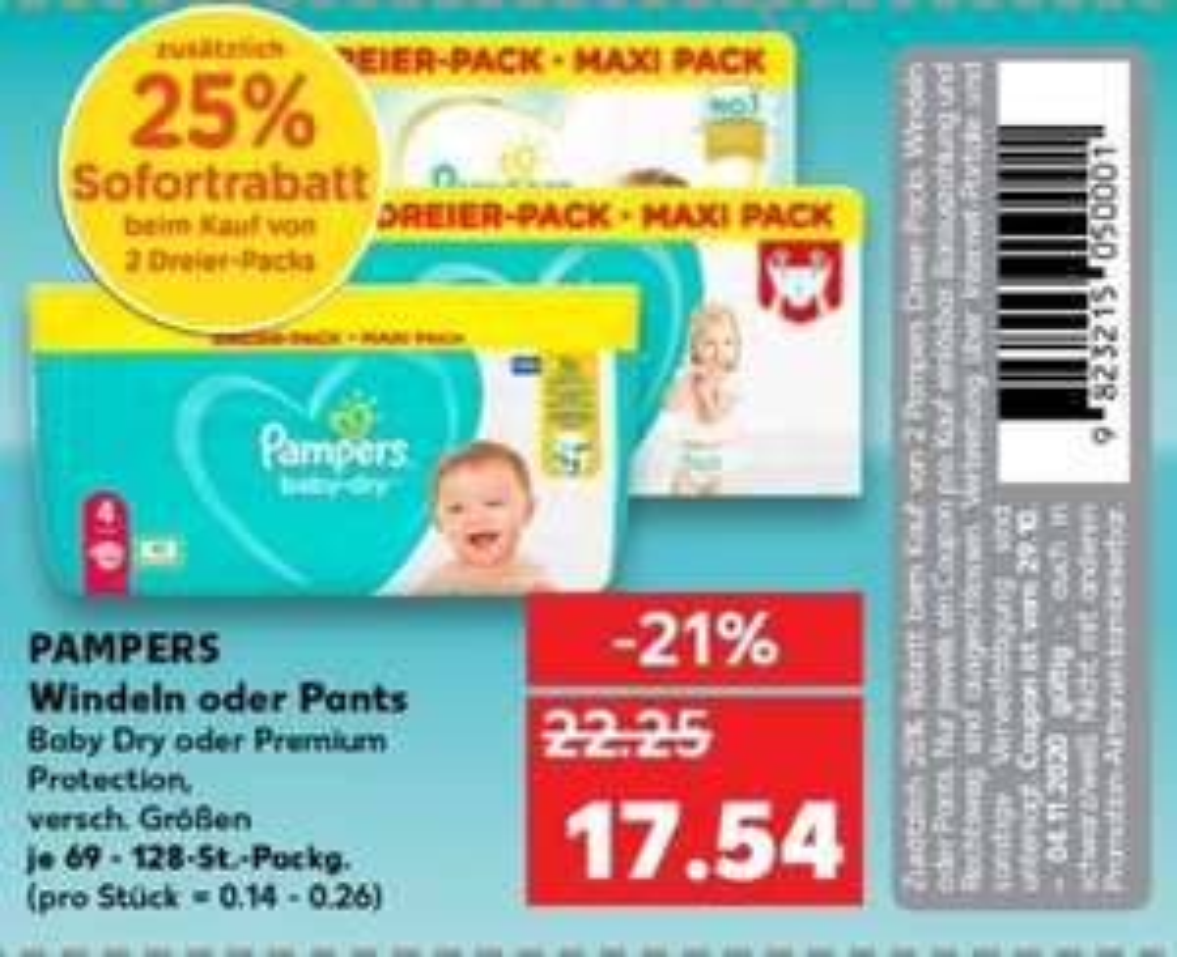 Angebot Dreier-Pack Pampers Baby Dry oder Premium Protection + 25% Sofortrabatt [Kaufland]