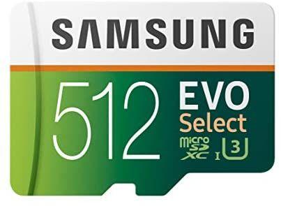 Samsung EVO SELECT R100/W90 microSDXC 512GB Kit, UHS-I U3, Class 10
