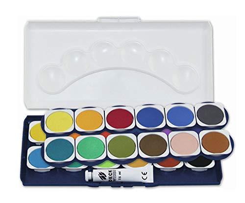 Stylex Deckfarbkasten mit 24 Wassermalfarben und Deckweiß, abnehmbarer Deckel mit 6 Feldern zum Mischen (Amazon Prime&Thalia Kultclub)