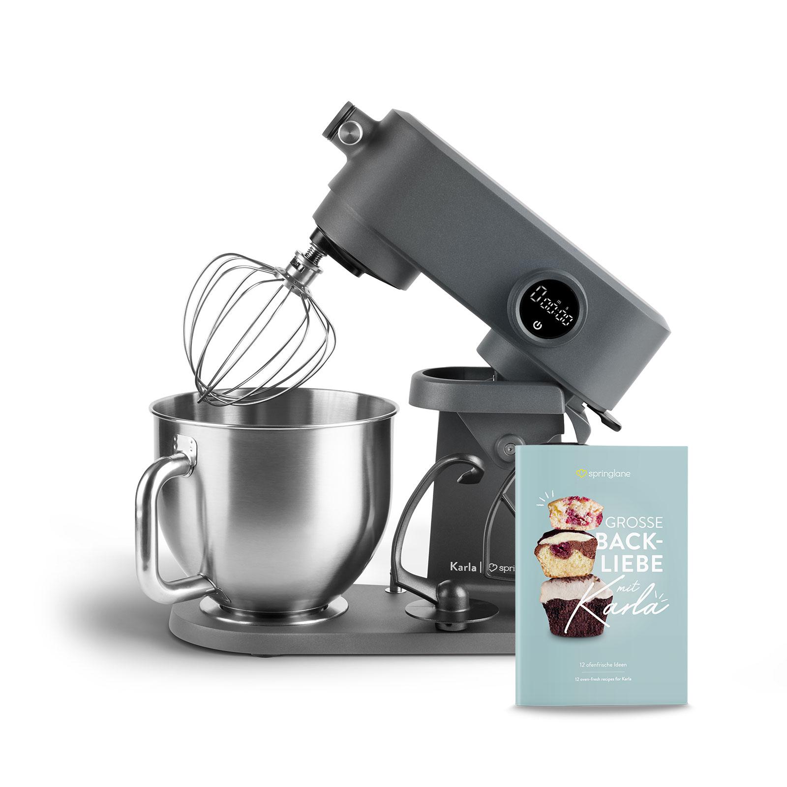 """Springlane Küchenmaschine """"Karla"""" (800 W, 5.2 Liter Edelstahl-Schüssel, Planetarisches Rührwerk, Vollmetall-Gehäuse, 8 Stufen) [SPRINGLANE]"""
