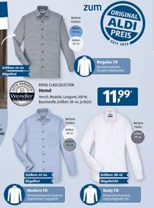 Royal Class Selection Hemd, Regular Fit, Modern Fit, Body Fit, Aldi Süd und Nord ab 12.11.20