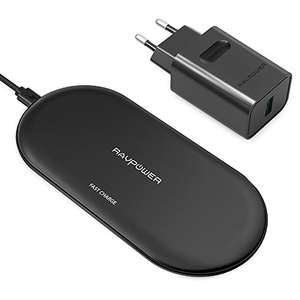 [Amazon Prime] RAVPower RP-PC067 Wireless Charger + Quick Charge 3.0-Adapter & USB-Kabel (für alle Qi-fähigen Smartphones, bis 10W)