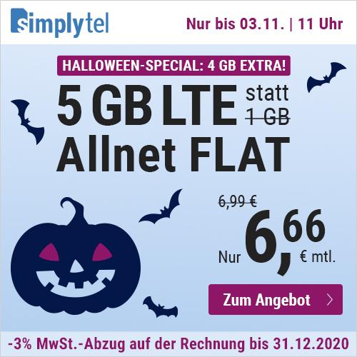 5GB LTE (50 Mbit/s) simplytel Tarif für mtl. 6,66€ + Allnet- & SMS-Flat + VoLTE & WLAN Call (3 Monate / 24 Monate; Telefonica-Netz)