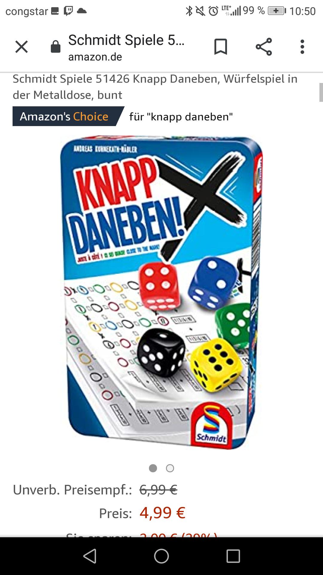 Schmidt Spiele 51426 Knapp Daneben, Würfelspiel in der Metalldose, bunt