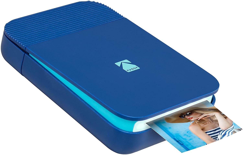 Kodak Smile mobiler Sofortbild-Drucker (tintenloser Zink-Druck, 5 x 7,6 cm Ausdrucke, Bluetooth, App, kompatibel mit Android & iOS) Blau