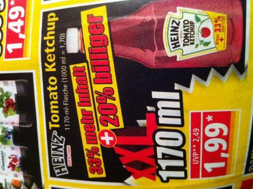 [NORMA] - Heinz Ketchup - 875 ml + 33 % = 1170 ml für 1,99 €