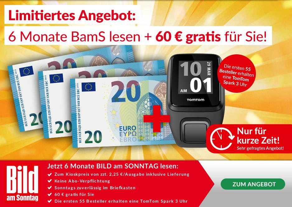 6 Monate Bild am Sonntag für 58,50€ inkl. 60€ Prämie