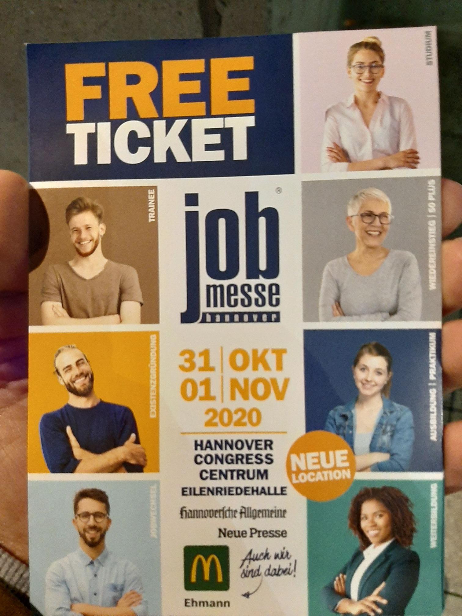 Job Messe Hannover 31.10.-01.11.20 im Congress Centrum kostenloses Ticket im McDonalds am HBF