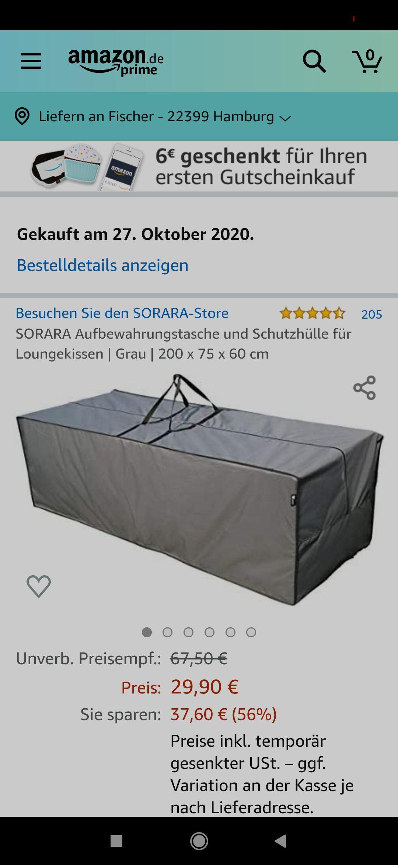 SORARA Aufbewahrungstasche und Schutzhülle für Loungekissen | Grau | 200 x 75 x 60 cm