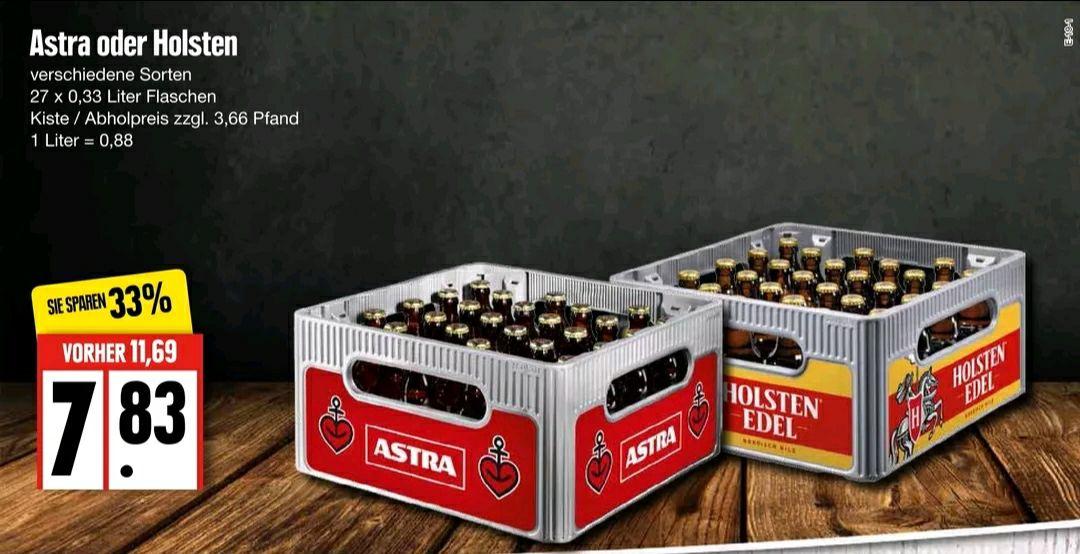 [lokal Edeka Nord] Bierkasten Astra oder Holsten (27 Flaschen à 0,33 l) für 7,83 € (zzgl. 3,66 € Pfand)