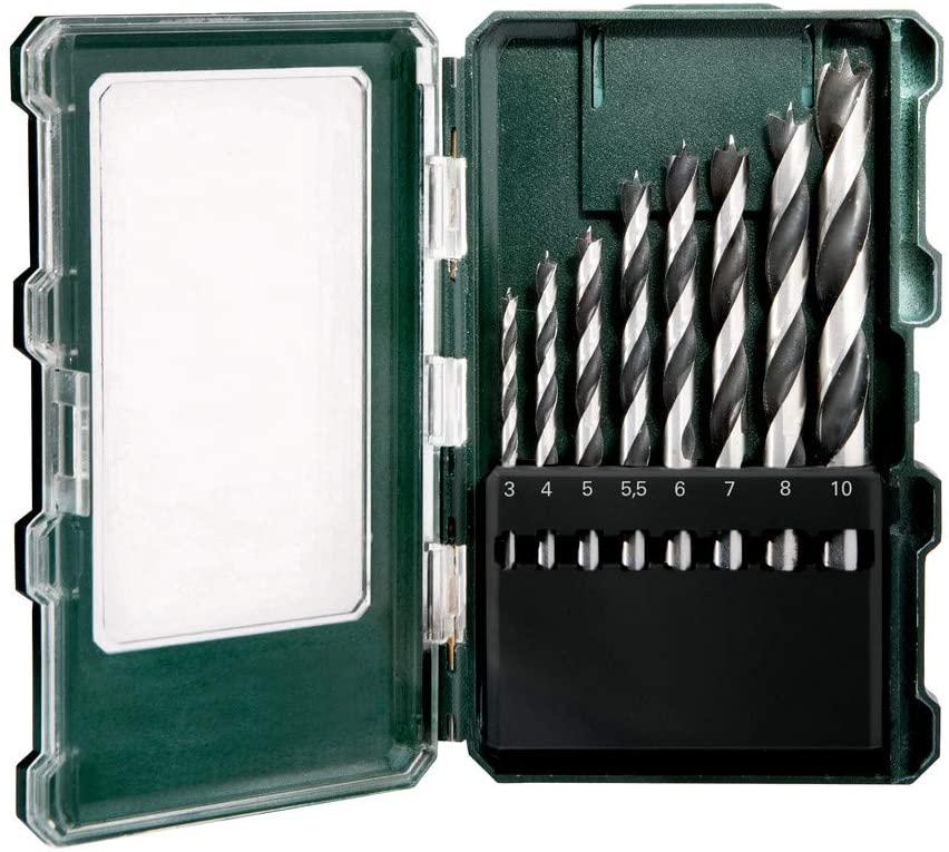 Metabo Holzbohrer-Kassette SP (8-teilig, Größe ø 3-10 mm, Holzspiralbohrer mit Zentrierspitze, Kunststoffbox) [Prime]