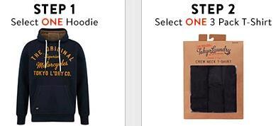 Tokyo Laundry Bundle: 1 Hoodie / Jacke und 3 T-Shirts (Gr. S-XXL) für 27,59€ + 4,40€ Versand