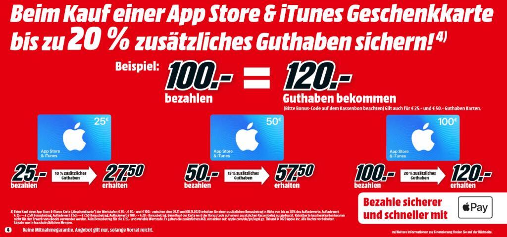 [Media Markt ab 02.11.] Bis zu 20% Extra Guthaben App Store & iTunes Karten