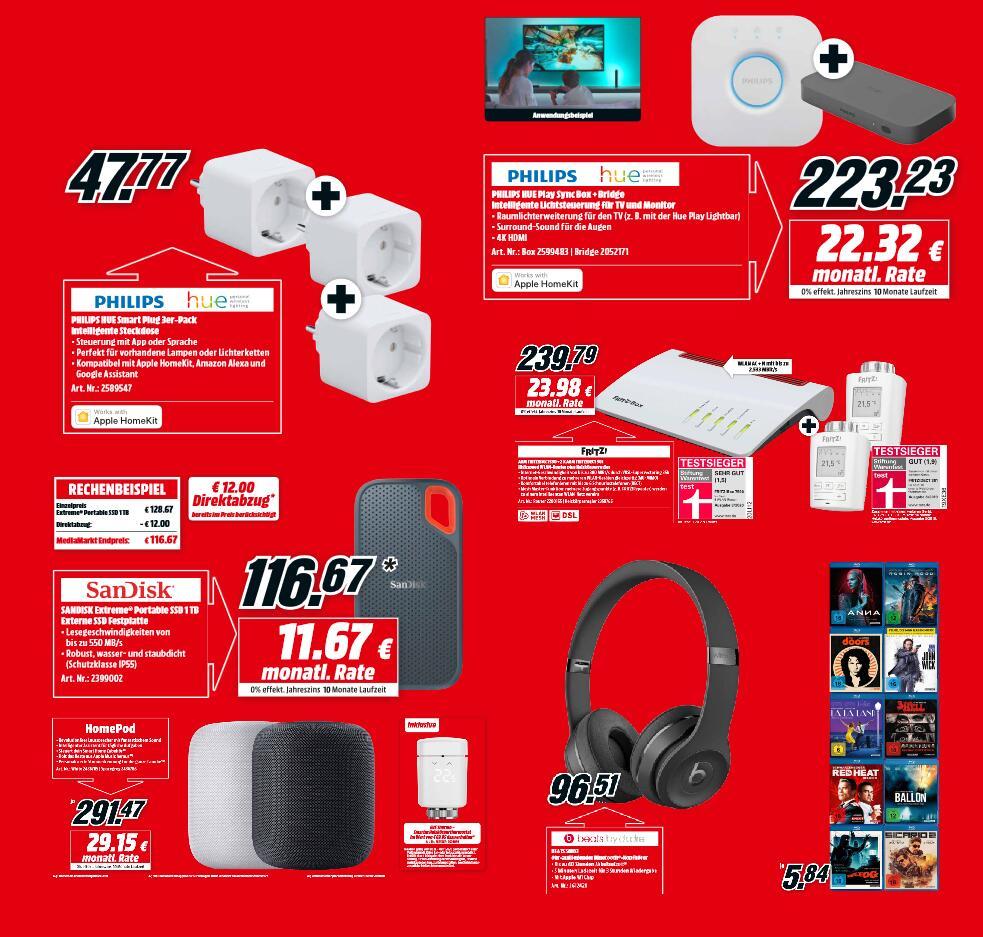 Philips Hue Smart Plug 3er Pack - 47,77€   Apple Homepod & Eve Energy - 281,47€   Sandisk Extreme Portable 1TB SSD - 106,67€   u.a.