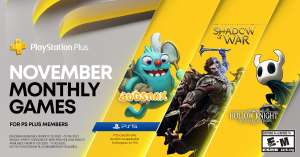 PS+ November 2020 - Middle Earth Shadow of War, Hollow Knight PS4 und Bugsnax als PS5 Bonus