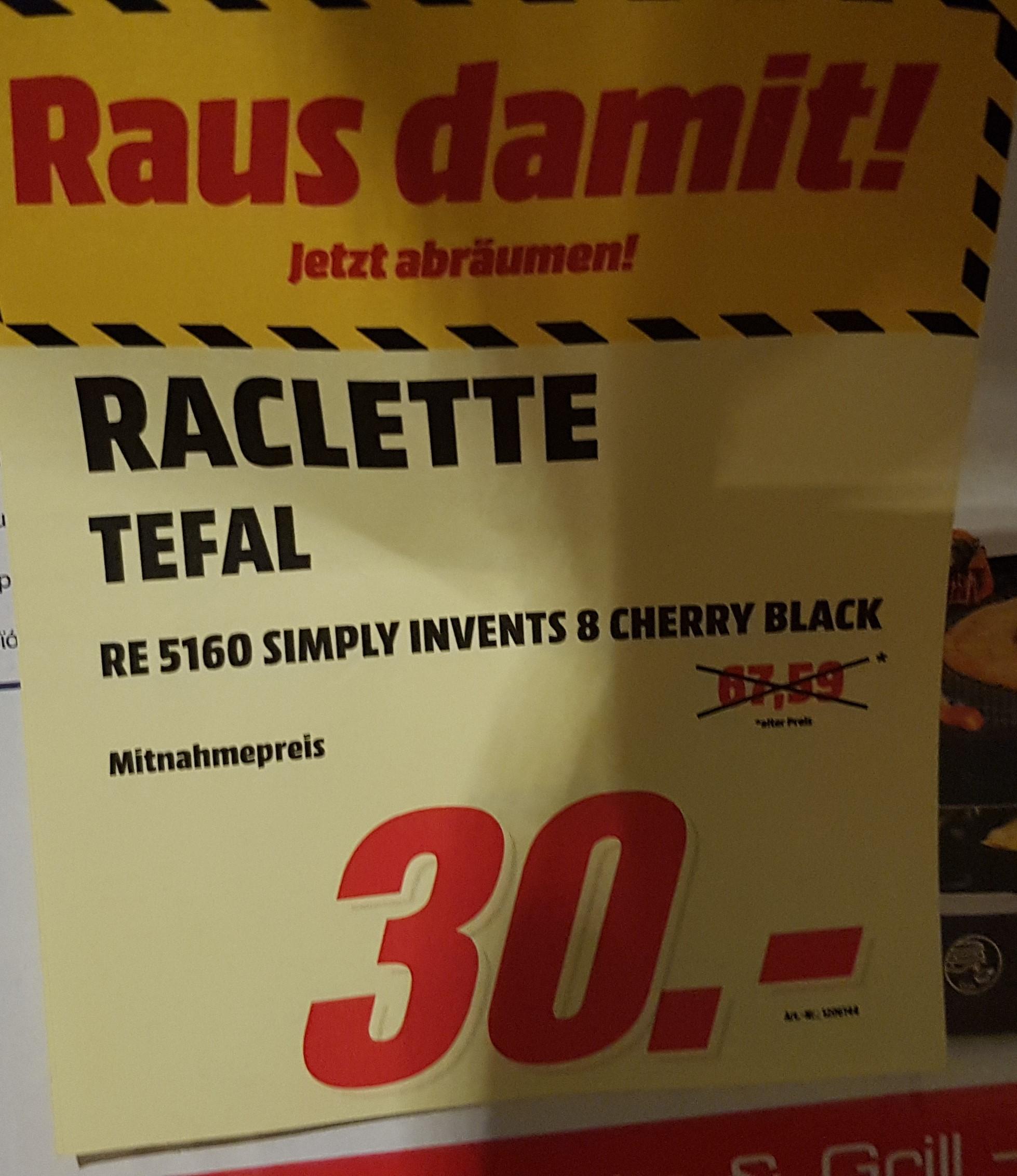 [Schwäbisch Hall] Raclette Tefal RE 5160 Simply Invents 8 lokal im Media Markt