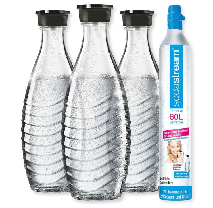 SodaStream —> Reservezylinder (60l) + 3x Glaskaraffe (je 0.6l, kompatibel mit Penguin oder Crystal)