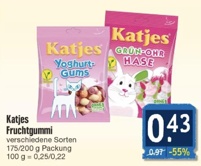Katjes versch. Sorten je 200g Tüte für 0,43€ [Edeka Südwest & Nordbayern-Sachsen-Thüringen] [ggf Bundesweit]