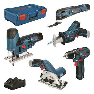 Bosch Professional 5 Tool Akku Set GSR 12 V-15, GST 12 V-70, GOP 12 V-28, GKS 12 V-26, GSA 12 V-14