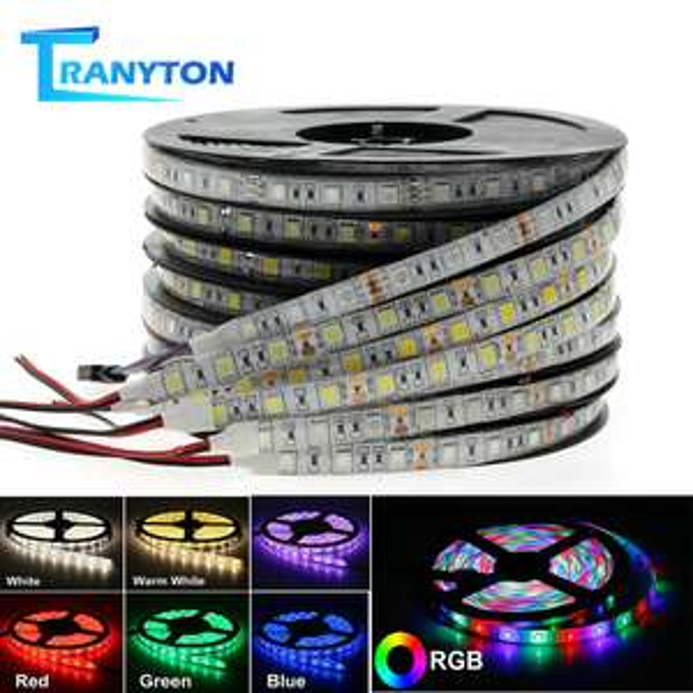 5 Meter LED-Strip, weiß oder warmweiß, 60LEDs/m, 2835 LEDs, 12V
