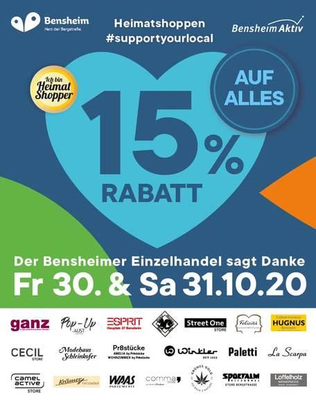 15% Rabatt auf ALLES - Bensheim 30. & 31.10.2020