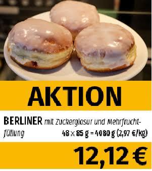 Frostkauf [Berlin, Magdeburg, Halle, Leipzig, Jänickendorf] Berliner / Pfannkuchen 48 stk. a85g = 4,08kg (2,97€ pro kg)