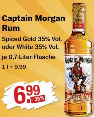 Captain Morgan Rum Gold oder White - je 0,7 l Fl. für 6,99 € / Haribo Fruchtgummi 49 Ct € @ V-Märkte München