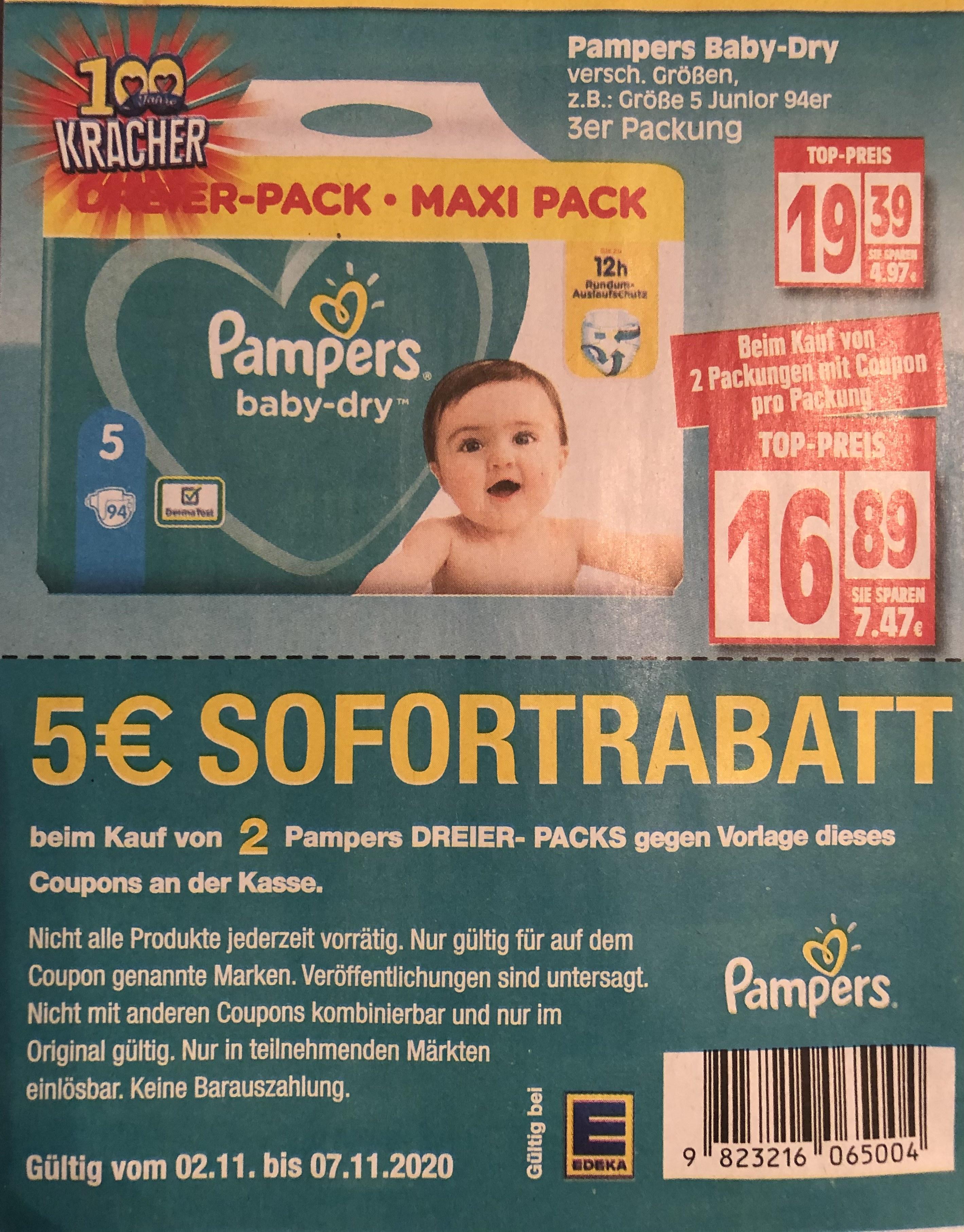 5€ Rabatt beim Kauf von 2 Pampers DREIER-PACKS