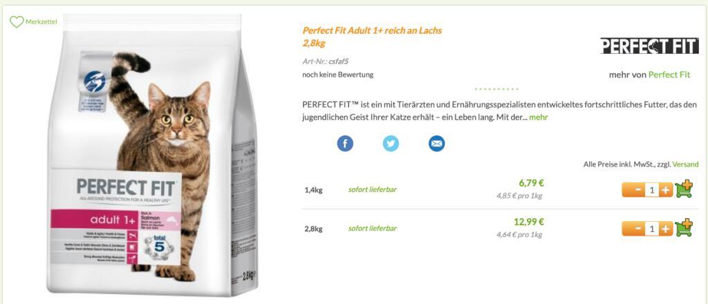 (lokal?) LIDL Perfect Fit Adult 1+ Lachs 2,8kg Beutel