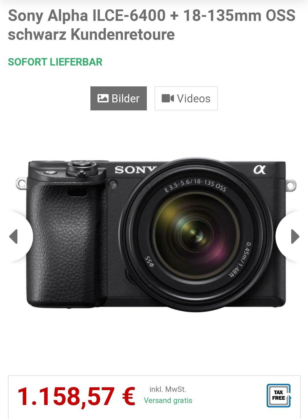 Sony Alpha ILCE-6400 + 18-135mm OSS schwarz Kundenretoure